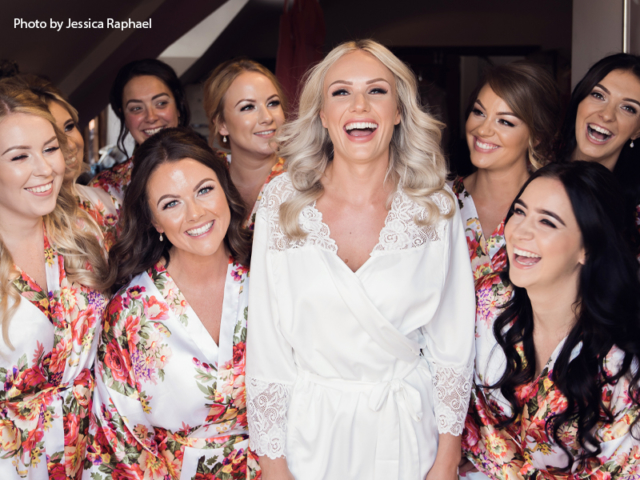 Bride with her bridesmaids in the Hen House