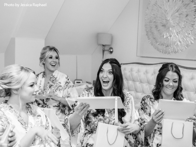 Bridesmaids with their presents
