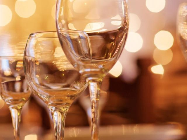Wine glasses at Nuthurst Grange
