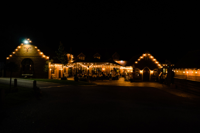 Wedding party at night at Nuthurst Grange hotel