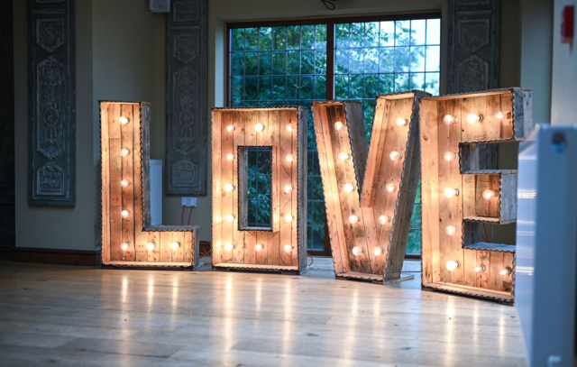 Love sign for weddings at Nuthurst Grange Hotel