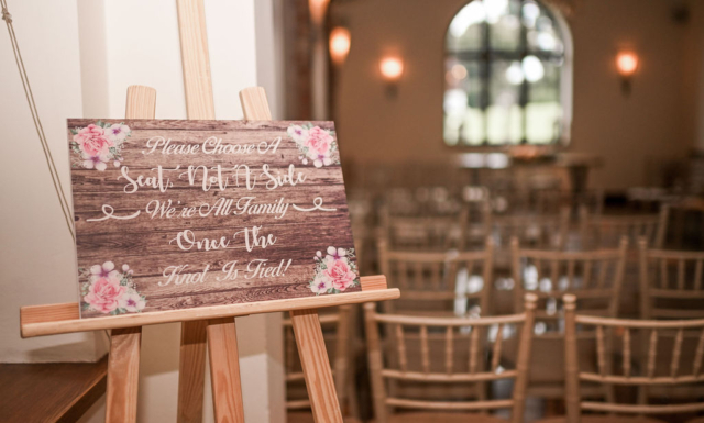 Wedding welcome message at the Stables - Nuthurst Grange hotel