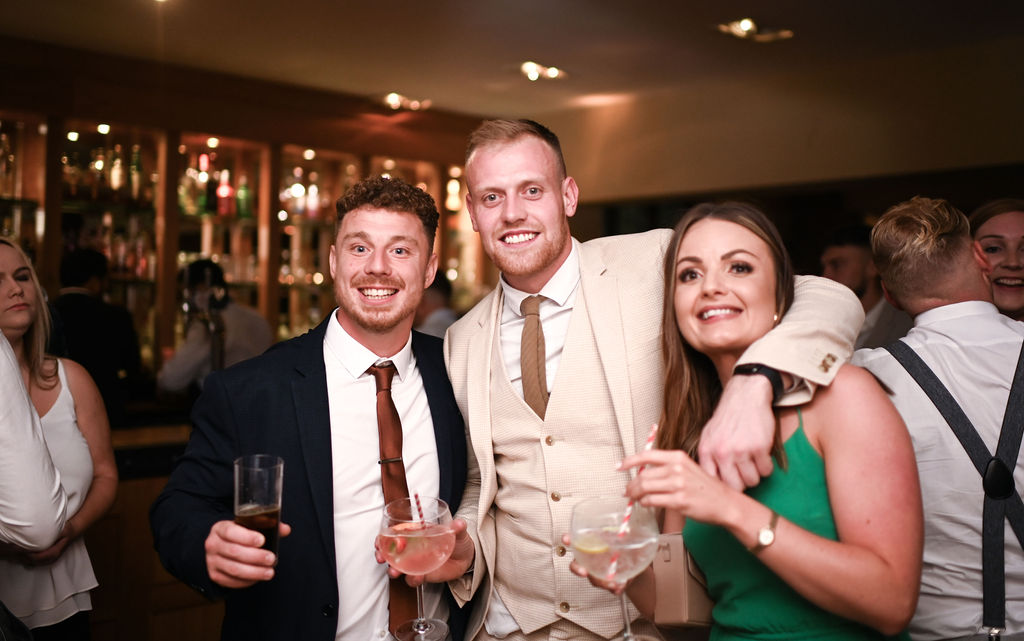 Wedding guests having a great time at Nuthurst Grange